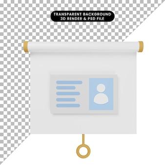 Ilustração 3d da vista frontal do quadro de apresentação de objeto simples com cartão de identificação