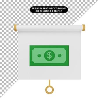 Ilustração 3d da vista frontal do quadro de apresentação de objeto simples com dinheiro
