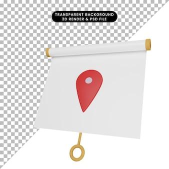 Ilustração 3d da vista frontal do quadro de apresentação de objeto simples com o ícone de localização