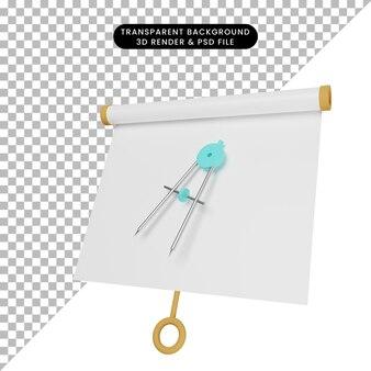 Ilustração 3d da vista frontal do quadro de apresentação de objeto simples com o termo orleon