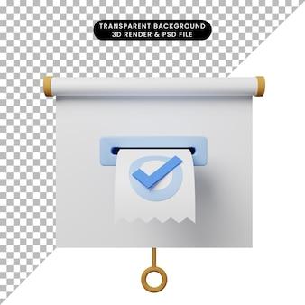 Ilustração 3d da vista frontal do quadro de apresentação de objetos simples com a lista de verificação da fatura