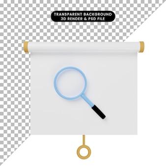 Ilustração 3d da vista frontal do quadro de apresentação de objetos simples com ampliação