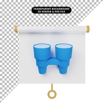 Ilustração 3d da vista frontal do quadro de apresentação de objetos simples com binóculos
