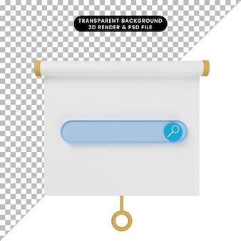 Ilustração 3d da vista frontal do quadro de apresentação de objetos simples com mecanismo de pesquisa