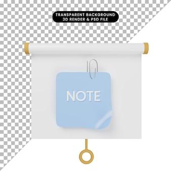 Ilustração 3d da vista frontal do quadro de apresentação de objetos simples com papel de nota