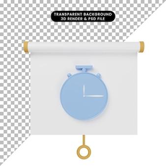 Ilustração 3d da vista frontal do quadro de apresentação de objetos simples com relógio
