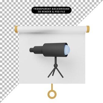 Ilustração 3d da vista frontal do quadro de apresentação de objetos simples com telescópio de binóculos Psd Premium