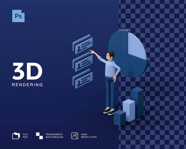 Ilustração 3d de analista de dados humanos