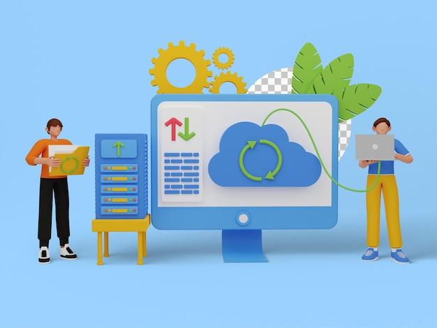 Ilustração 3d de armazenamento em nuvem para seu site