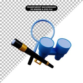 Ilustração 3d de binóculos e ampliação de telescópio de objeto simples