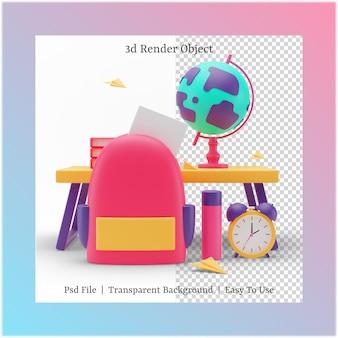 Ilustração 3d de bolsa e glob com o conceito de volta às aulas
