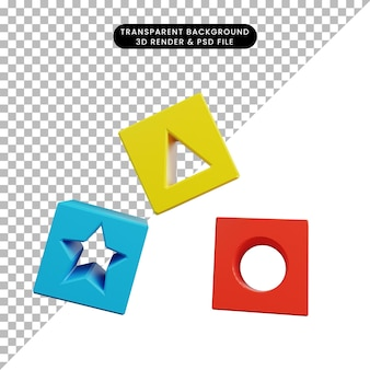Ilustração 3d de brinquedos infantis de objetos simples