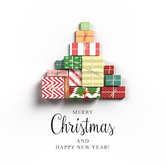 Ilustração 3d de cartão de natal com árvore de natal feita de caixas de presente