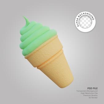 Ilustração 3d de casquinha de sorvete de chá verde