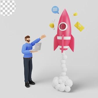 Ilustração 3d de como iniciar um projeto empresarial