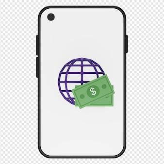 Ilustração 3d de dinheiro e globo no ícone do smartphone psd