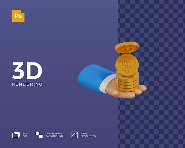 Ilustração 3d de dinheiro