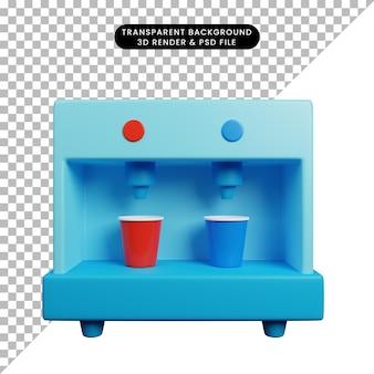 Ilustração 3d de dispensador de utensílios de cozinha para bebidas com xícaras