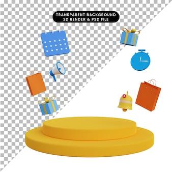 Ilustração 3d de elementos da loja online