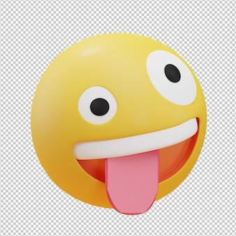 Ilustração 3d de emoji de rosto estranho