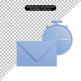 Ilustração 3d de envelope de objeto simples com relógio