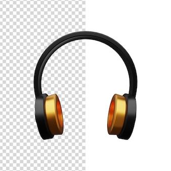 Ilustração 3d de fones de ouvido. ilustração de fone de ouvido 3d dourado