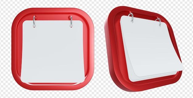 Ilustração 3d de formas vermelhas penduradas em papel ou calendário vazio ou em branco