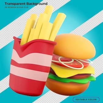 Ilustração 3d de hambúrguer de fast food, batatas fritas e refrigerantes