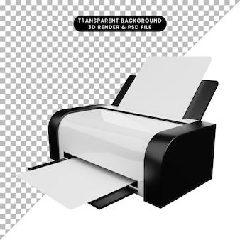 Ilustração 3d de impressora de ícone simples