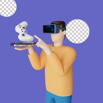 Ilustração 3d de jogos em fone de ouvido de realidade virtual