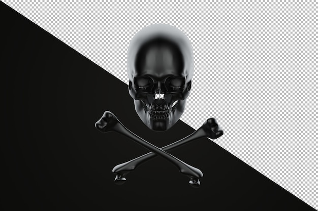 Ilustração 3d de jolly roger, caveira e ossos cruzados