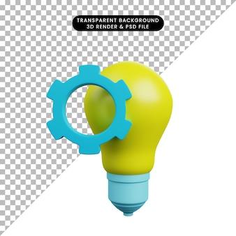 Ilustração 3d de lâmpada com equipamento