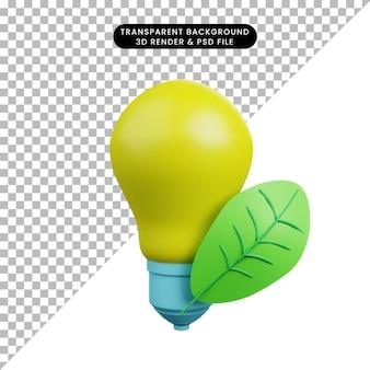 Ilustração 3d de lâmpada com folha
