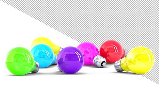 Ilustração 3d de lâmpadas coloridas