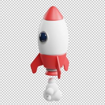 Ilustração 3d de lançamento de foguete