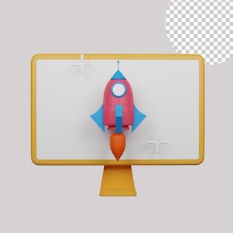 Ilustração 3d de lançamento online