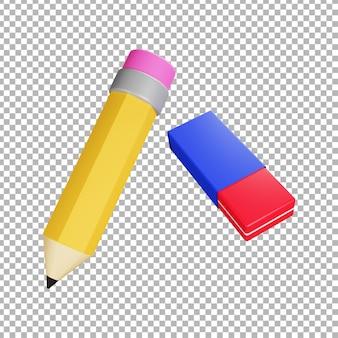 Ilustração 3d de lápis e borracha