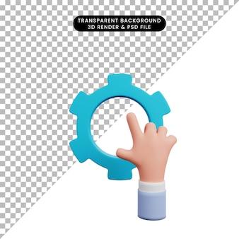 Ilustração 3d de mão com equipamento