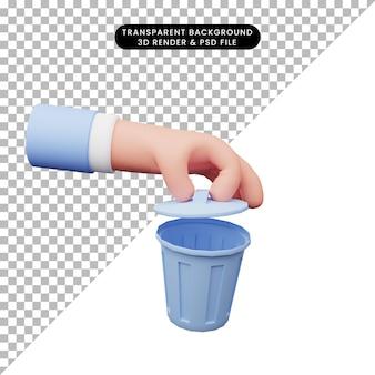 Ilustração 3d de mão com lixeira