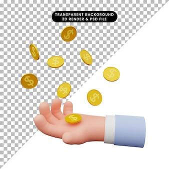 Ilustração 3d de mão pega moeda