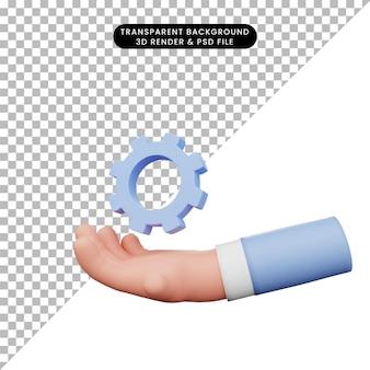 Ilustração 3d de mãos com ícone de engrenagem