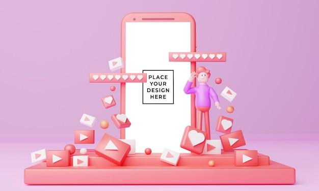 Ilustração 3d de maquete para promoção de vídeo com personagem de desenho animado