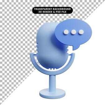 Ilustração 3d de microfone de ícone simples com bolha de bate-papo