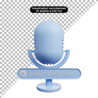 Ilustração 3d de microfone de ícone simples com nota de voz
