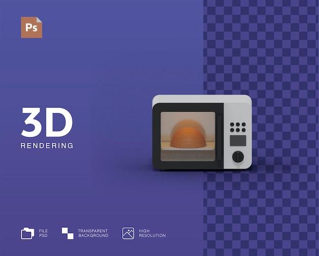 Ilustração 3d de microondas