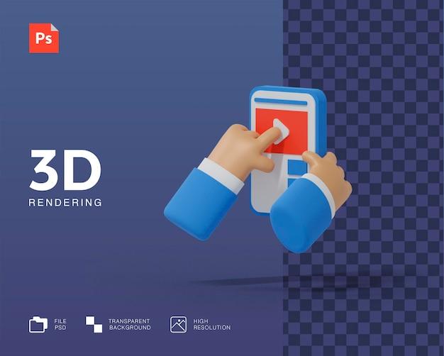 Ilustração 3d de mídia social