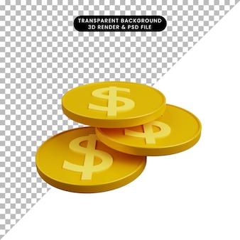 Ilustração 3d de moeda de objeto simples