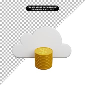 Ilustração 3d de nuvem com moeda