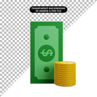 Ilustração 3d de objeto simples dinheiro com moeda