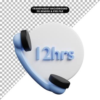Ilustração 3d de objeto simples telefone 12 horas